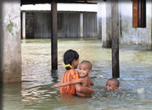 ダッカの洪水状況
